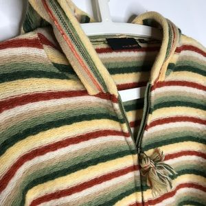 Fun Striped Hooded zip knit sweater Sz M